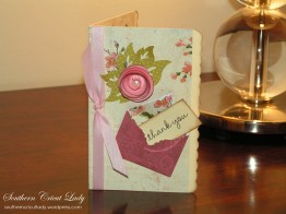 Mini Envelope Thank You Card - With Spiral Rose